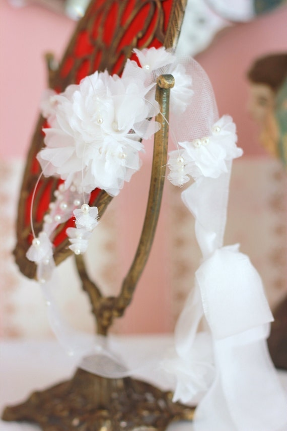 White silk and tulle headband for christening, flower girl, newborn and special occasions