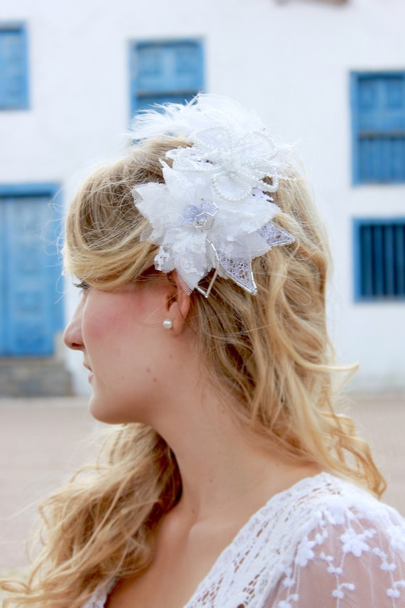 Wedding floral headpiece with feathers
