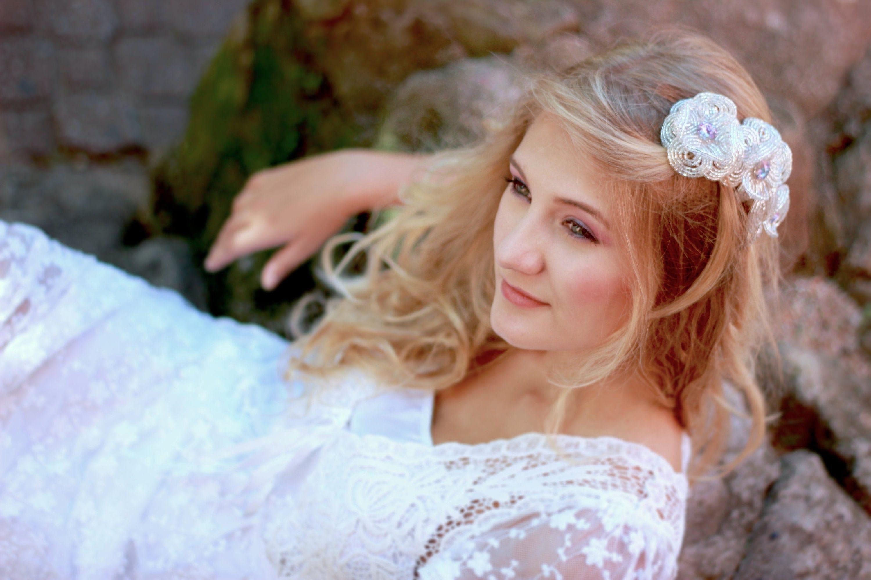 bridal hair clip, beaded flower, wedding hair flower, crystal