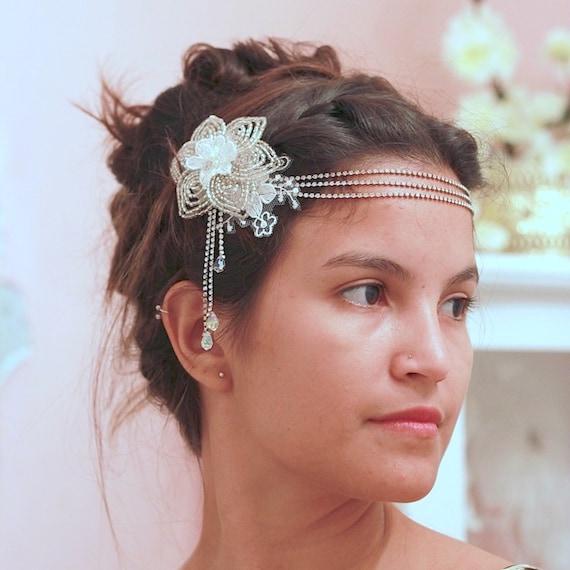 Bohemian forehead flower jewelry head chain for wedding