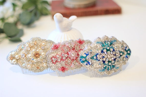 Embroidered hair comb with beads, pearl and rhinestones for mother of the bride, bridesmaids and fashion guests