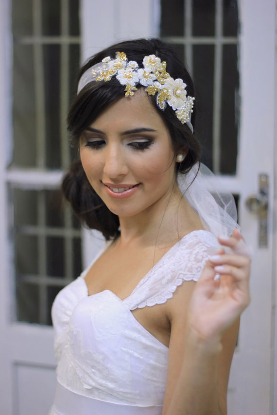 Boho tulle veil headband bandeau with 3D embroidered flowers