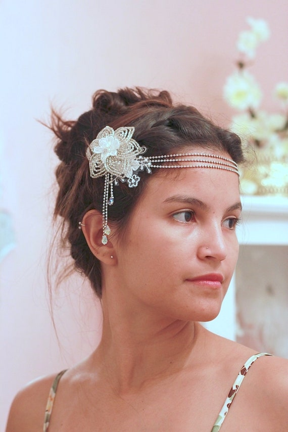 Bohemian forehead flower jewelry head chain for wedding