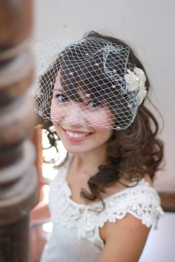 Polka dot birdcage veil with flower set pins