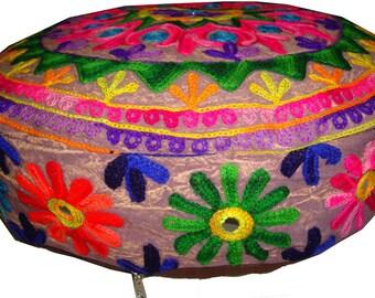 "Art embroider mirror work Kashmiri round floor ottoman pouf pillow Cushion cover ethnic decoration 16"""