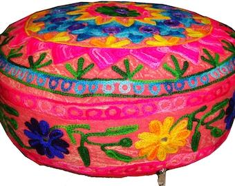 Kashmir art embroider mirror work Red round floor ottoman pouf pillow Cushion cover ethnic decoration