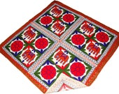 Wall tapestry wall hanging table cloth runner throw Indian handmade elephant floral embroidery cotton square 35 quot