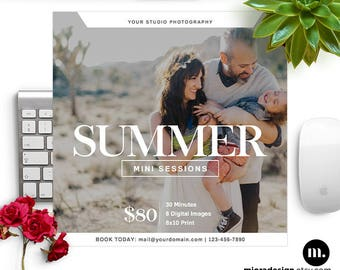 Summer Mini Session Photoshop Template for Photographer - Photography Marketing Material - INSTANT DOWNLOAD - MS045