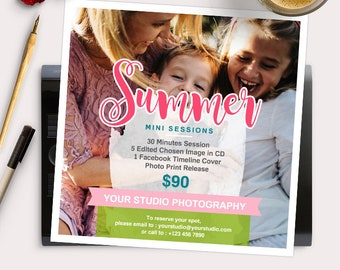 Summer Mini Session Photoshop Template for Photographer - Photography Marketing Material - INSTANT DOWNLOAD - MS043