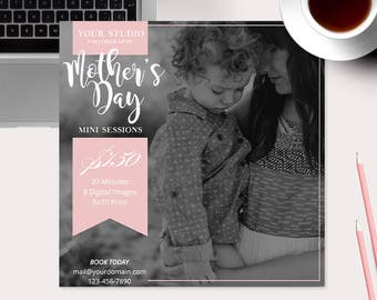 Mother's Day Mini Session Photoshop Template for Photographer - Photography Marketing Material - INSTANT DOWNLOAD - MS048