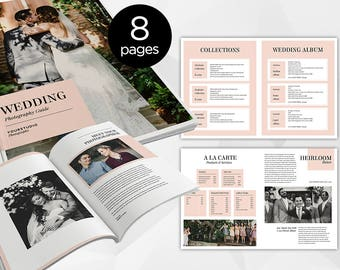 8 Page - Wedding Photography Pricing Guide Magazine -  Photoshop Template for Photographer - INSTANT DOWNLOAD - PM007