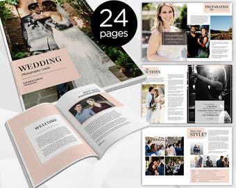 24 Page - Wedding Photography Magazine -  Photoshop Template for Photographer - INSTANT DOWNLOAD - PM006