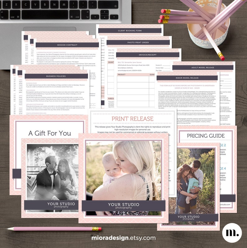 Photography Business Forms and Contracts Bundle - MsWord & Photoshop  Template for Photographers - INSTANT DOWNLOAD - BS002