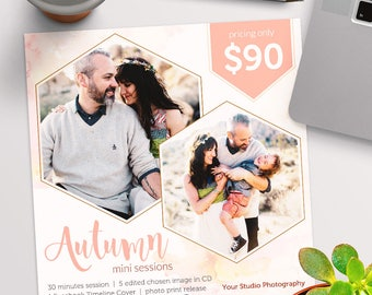 Fall/Autumn Mini Session Photoshop Template for Photographer - Photography Marketing Material - INSTANT DOWNLOAD - MS049