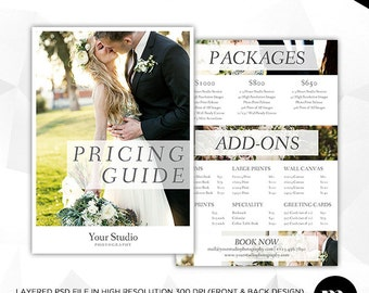 Price List - Pricing Guide Photoshop Template for Photographers - INSTANT DOWNLOAD - PG009