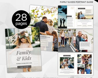 28 Page - Family & Kids Photography Magazine -  Photoshop Template for Photographer - INSTANT DOWNLOAD - PM003