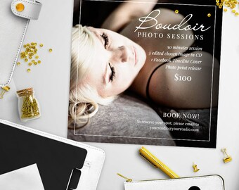 Boudoir / Valentine Mini Session Photoshop Template for Photographer - Photography Marketing Material - INSTANT DOWNLOAD - MS056