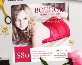 Boudoir / Valentine Mini Session Photoshop Template for Photographer - Photography Marketing Material - INSTANT DOWNLOAD - MS058
