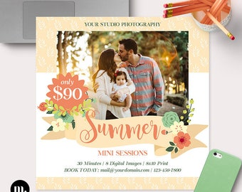 Summer Mini Session Photoshop Template for Photographer - Photography Marketing Material - INSTANT DOWNLOAD - MS044