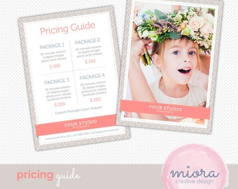 Price List - Pricing Guide Photoshop Template for Photographers - INSTANT DOWNLOAD - PG001