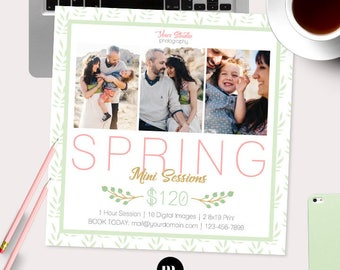 Spring Mini Session Photoshop Template for Photographer - Photography Marketing Material - INSTANT DOWNLOAD - MS046