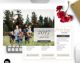 Price List - Pricing Guide Photoshop Template for Photographers - INSTANT DOWNLOAD - PG014