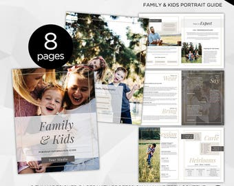 8 Page - Family & Kids Photography Magazine -  Photoshop Template for Photographer - INSTANT DOWNLOAD - PM005