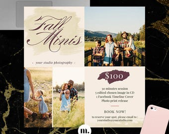 Fall/Autumn Mini Session Photoshop Template for Photographer - Photography Marketing Material - INSTANT DOWNLOAD - MS050