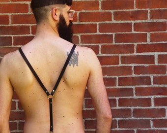 Classic Suspenders - Leather Adjustable Suspenders with O-Ring