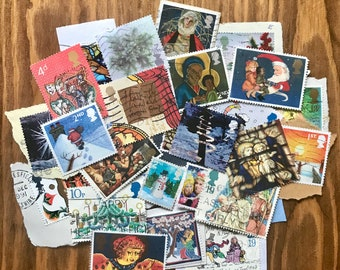 Christmas - 30 Assorted UK Christmas Postage Stamps - Collage - Cards - Smash Books - Junk Journals - Decoration