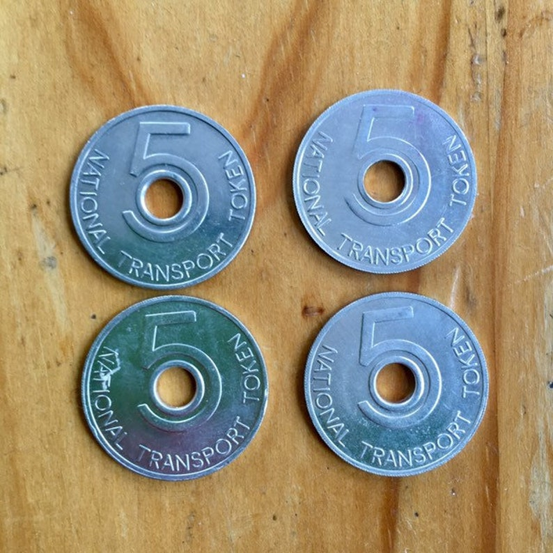 4 National Transport Tokens  Bus  Train  Coins  Mixed image 0
