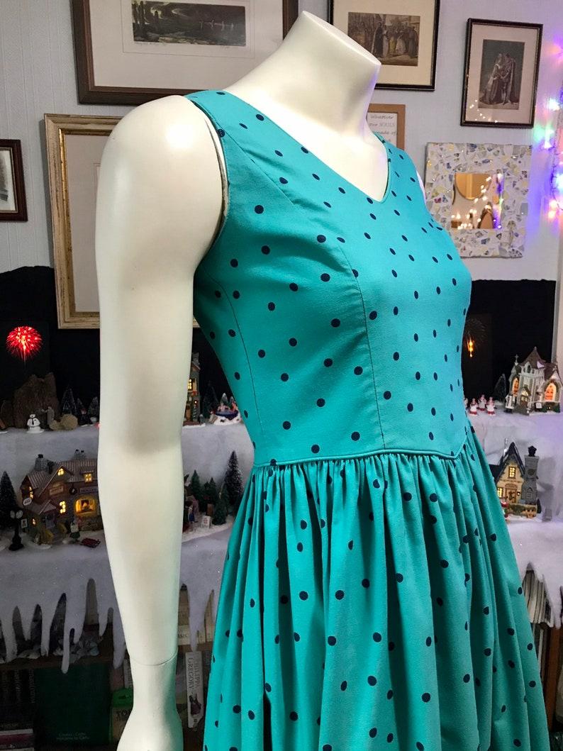Everyday Teal Navy 1980s Polka Dot Vintage LAURA ASHLEY Christmas 32\u201d Bust Dress Cotton
