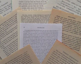 Foreign Language Assorted Book Pages  - 10 pages for art and craft projects - Cards - Bunting - Confetti