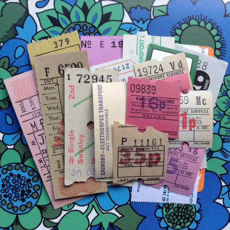 25 Assorted Tickets  Mixed Media  Altered Art  Assemblage  image 0