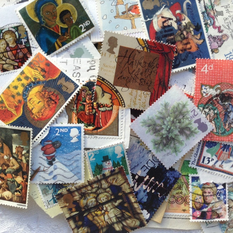 Christmas  30 Assorted UK Christmas Postage Stamps  Collage image 0