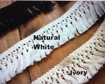 """1.5"""" Soft Cotton Fringe,  Black white ivory,  Cotton  Tassel Fringe, cotton tassel fringe  #OR01"""