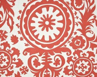 Premier Prints  1 yard suzani white/coral, coral cotton fabric, coral fabric, coral bedding fabric, coral drapery fabric, coral cover A34