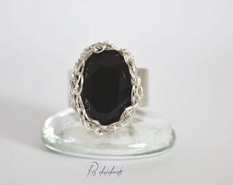 Swarovski Ring / Sterling Silver Ring / Black Ring /Anello argento 925,cristallo Swarovski nero