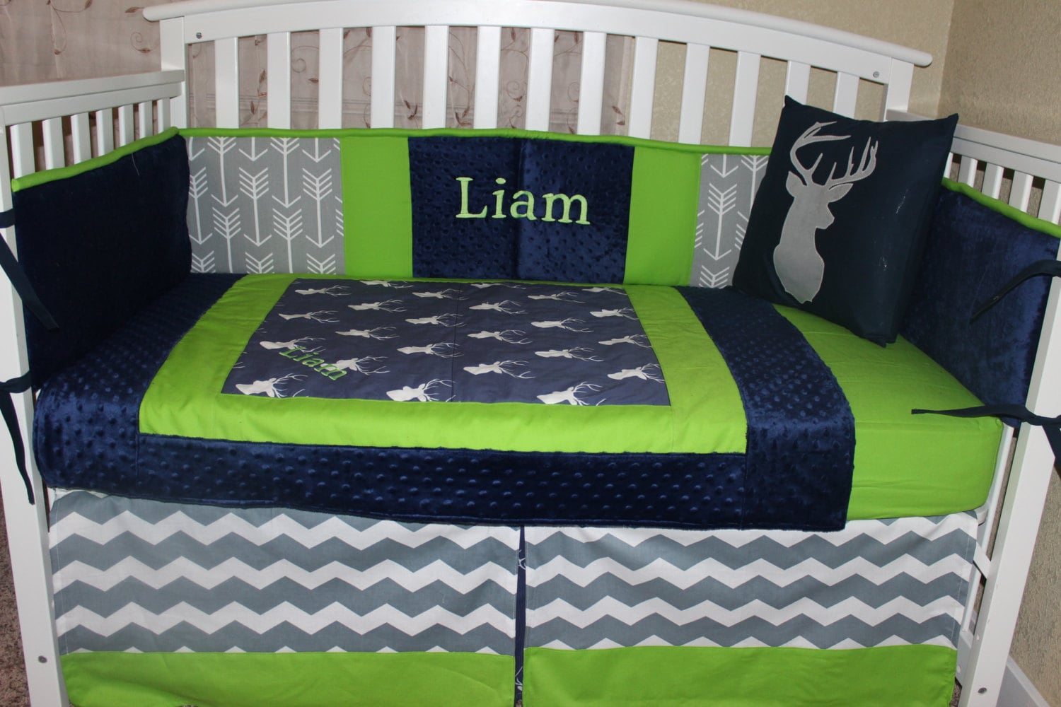 Crib Bedding Set Navy Blue And Lime Green Deer Head And