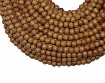 WDRD-06BY Round 6mm Bayong Wood Bead 16 Inch Strand