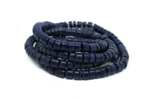 Dyed and Waxed 3-4mm Navy Blue Coconut Shell Heishi Beads 23 inch strand