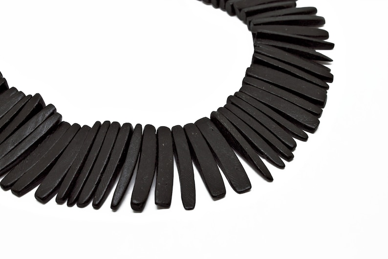 25mm Black Coconut Shell Sticks 15 inch strand Dyed and Waxed
