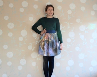 Astronomy skirt, Nebula skirt, science teacher skirt, pink nebula, galaxy skirt, Hubble Space Telescope, night sky skirt, gifts for geeks