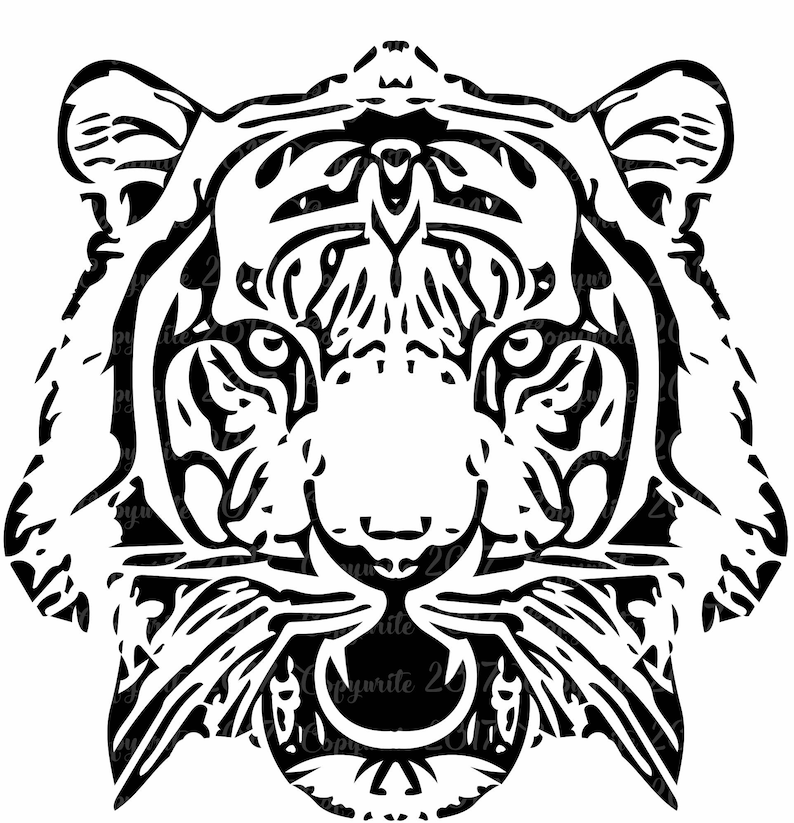Tiger Head PNG Transparent Background Cut Out Cricut Silhouette Dye Cut File