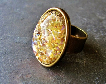 Golden Fire Opal - Vintage Cabochon and Antique Brass Adjustable Ring