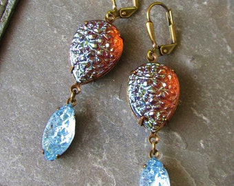 Sugared Fig - Sugar Stone Glass and Antique Brass Earrings
