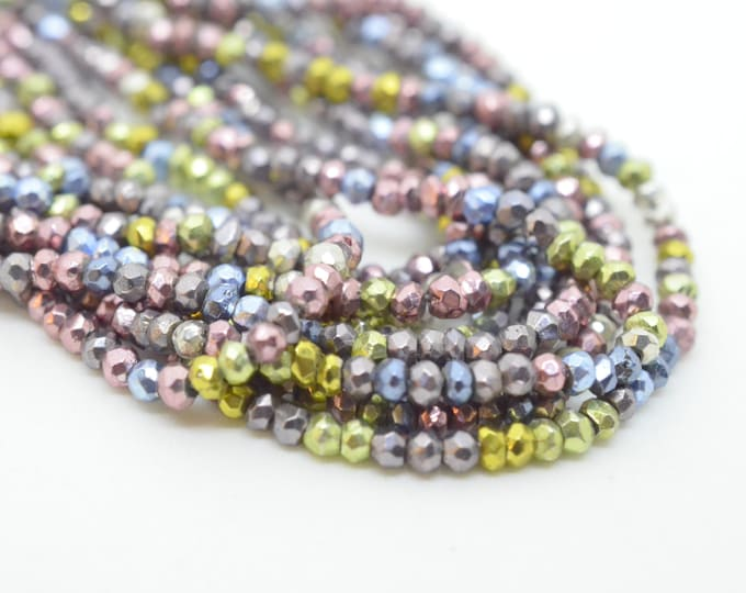 Pyrite Rondelles Half or Full strand Multi Pastel Pink Green Blue Mauve Silver Metallic Pyrite Sparkle Rondelles CB 2.5mm to 3mm Quarter
