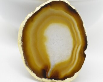 Gold Electroplated Natural Agate Slice Pendant Chocolate Brown and Gold Agate Slice Geode Single Bail CB Free Form Pendant