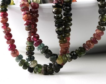 Tourmaline Rondelles Watermelon Tourmaline, Your Choice of 1/8, 1/4, Half or Full Strand 4.5 to 5mm October Birthstone KJ