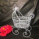 "12"" Wire Baby Carriage Pram  - Great for Baby Shower Decorations"